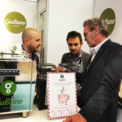 Alessandro Minelli, CEO di Giuliano Caffè con Francesco Sanapo,diplomato SCAE e tre volte campione italiano di caffetteria e Patrick O'Malley, diplomato SCAE e Coffee Trainer riconosciuto a livello internazionale